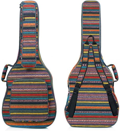 CAHAYA Bohemian Guitar Bag Vintage Guitar Case 0.65in Thick Sponge Padded Guitar Case with 5 Convenient Pockets for 40 41 42 Inch Acoustic Classical Guitar | Protective Guitar Bags