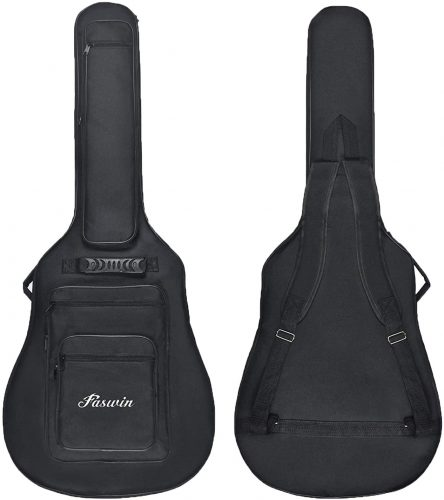 Faswin 41 Inch Acoustic Guitar Padded Gig Bag with 6 Pockets, Pick Sampler and Guitar Strap | Protective Guitar Bags