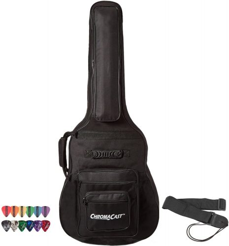 ChromaCast Acoustic Guitar 6-Pocket Padded Gig Bag with Guitar Strap and Pick Sampler | Protective Guitar Bags