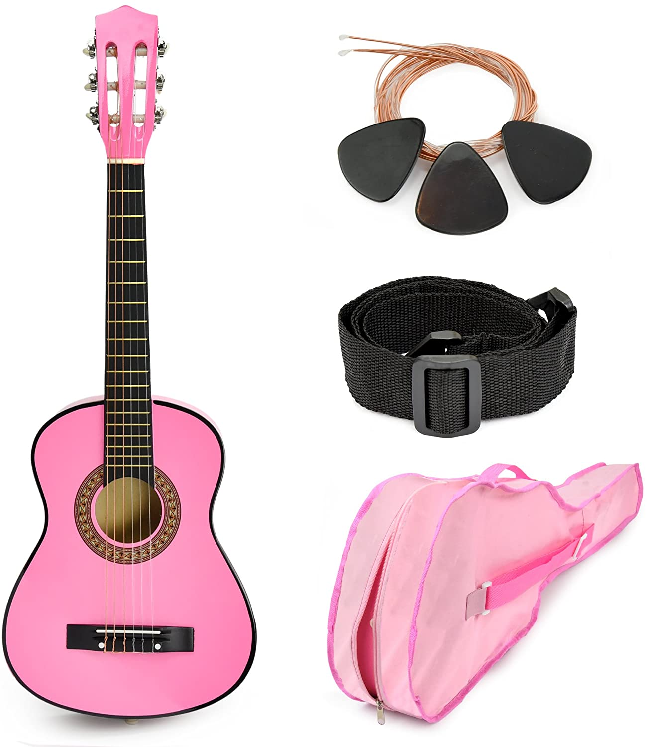 "Pink Wood Guitar with Case and Accessories Gift for Kids/Girls/Beginners (30"")"