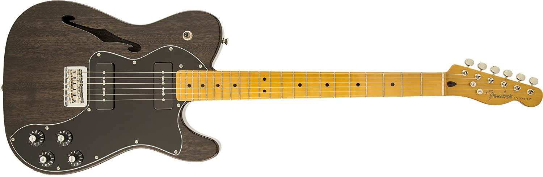 Fender Modern Player Telecaster Thinline Deluxe, Maple Fingerboard - Black Transparent