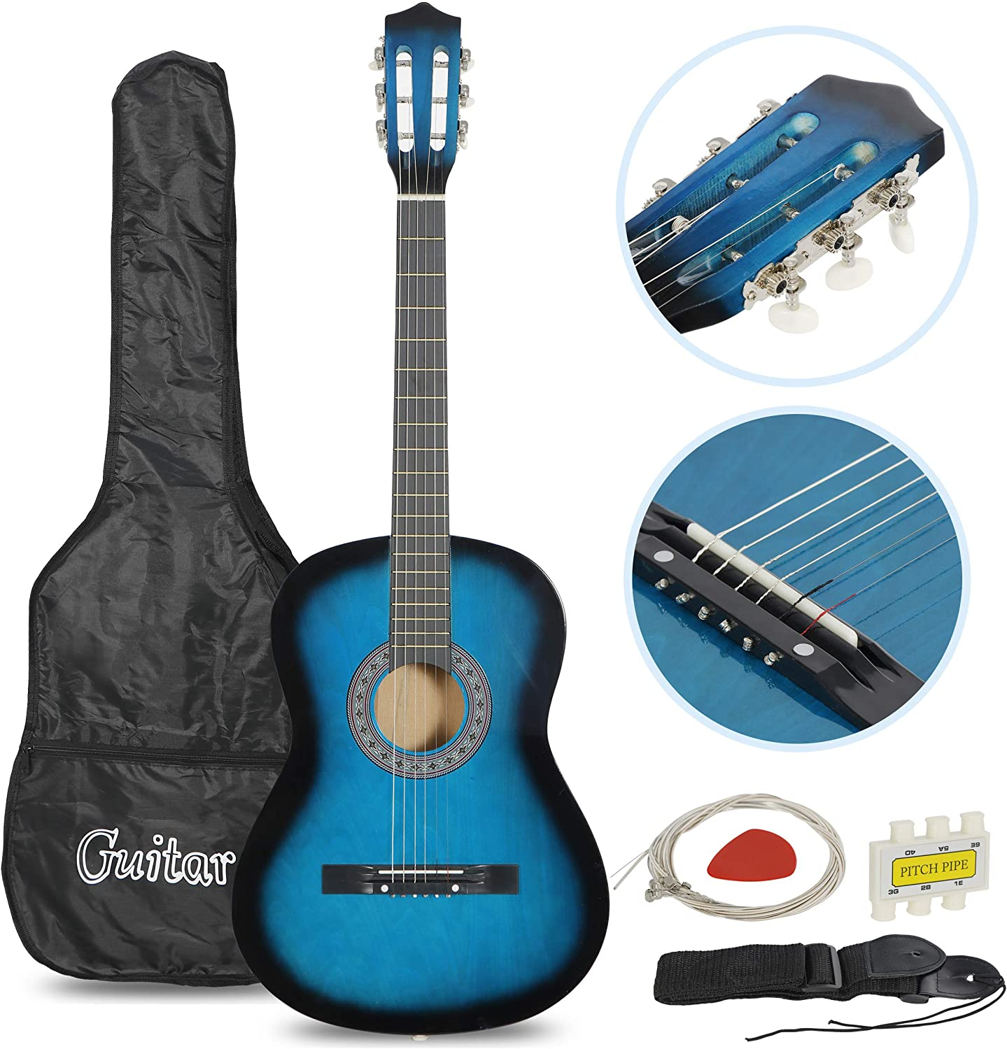"Smartxchoices Acoustic Guitar for Starter Beginner Music Lovers Kids Gift 38"" 6-String Folk Beginners Acoustic Guitar With Gig bag, Strap, Pitch Pipe and Pick (Blue)"