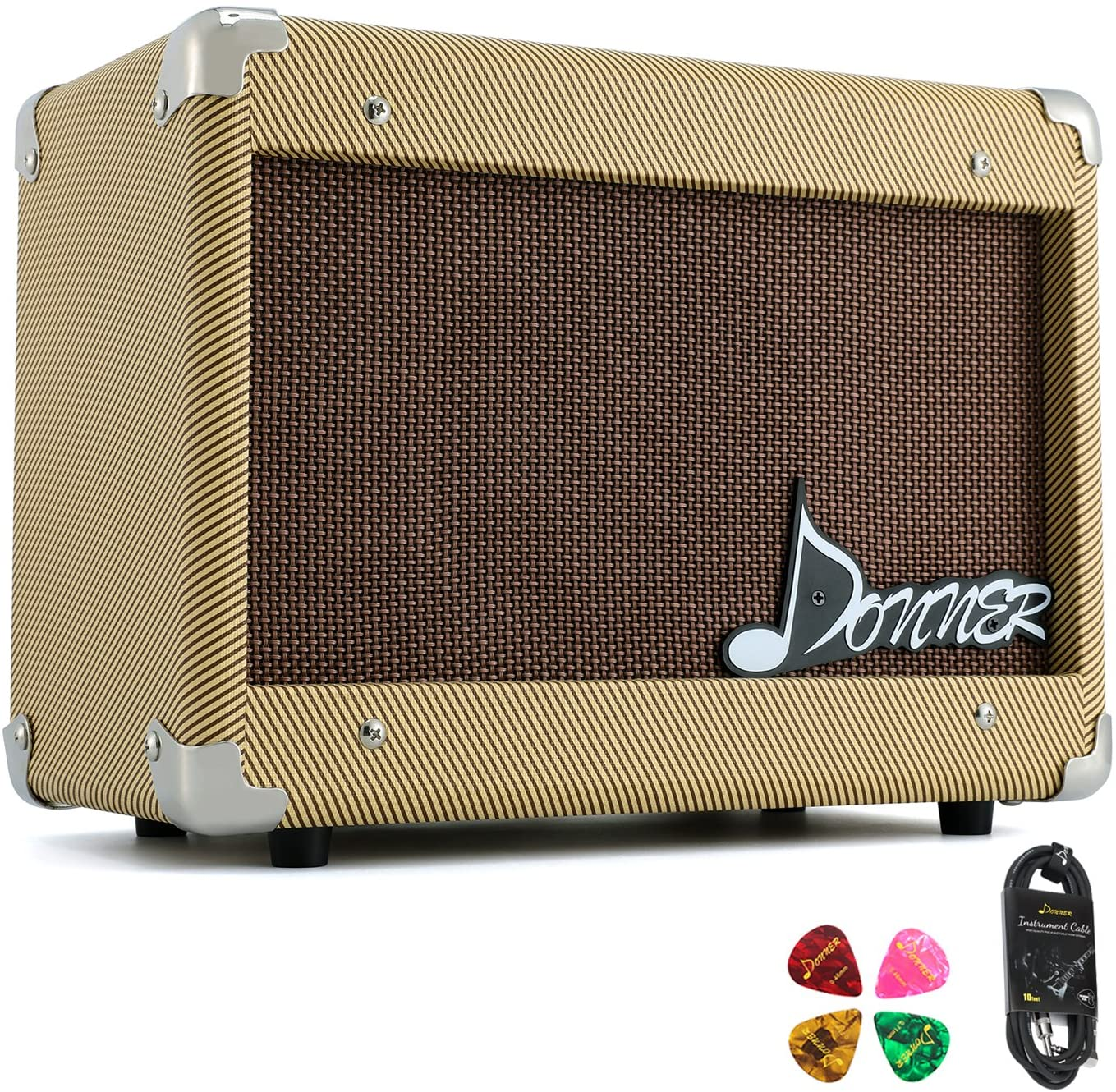 Donner 15W AMP Acoustic Guitar Amplifier Kit DGA-1 with 10 Feet Guitar Cable- Bass Guitar Amplifiers