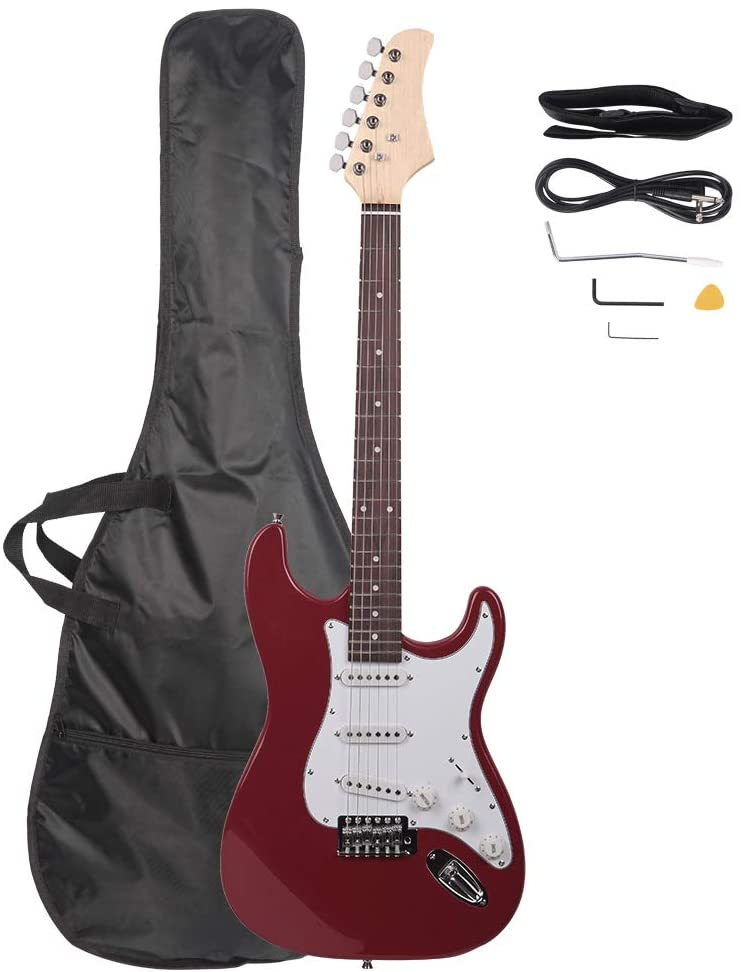 "LAGRIMA 39"" Full Size Beginner Electric Guitar Starter Kit with Tremolo Arm, Power Cord, Guitar Bag, Shoulder Strap(Rose Red)"