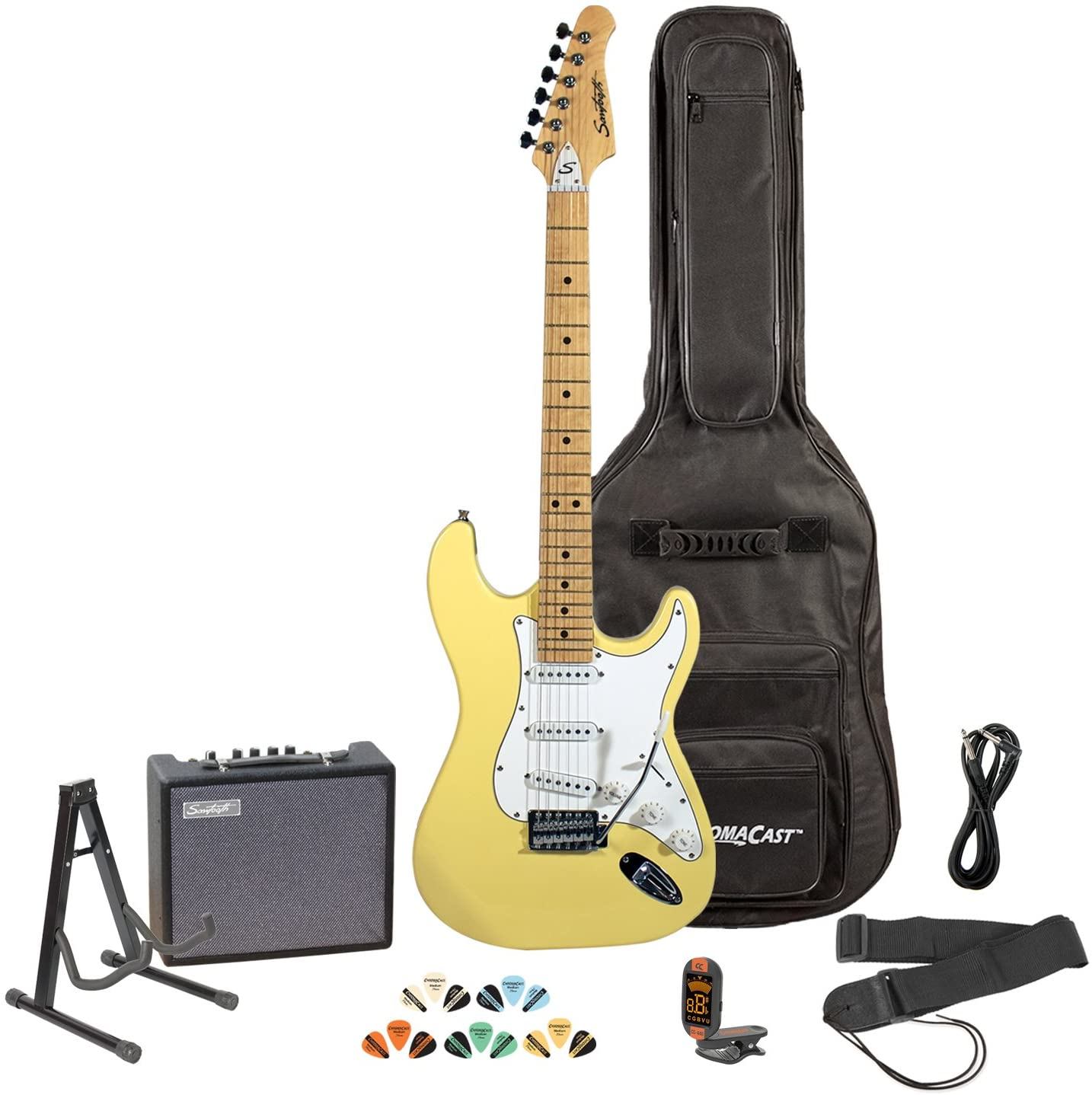 Sawtooth Citron Vanilla Cream Electric Guitar w/White Pickguard - Includes: Accessories, Amp, Gig Bag & Lesson