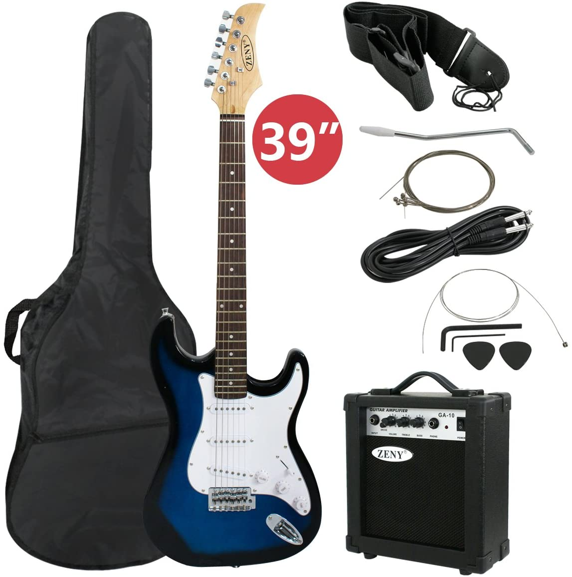 "ZENY 39"" Full Size Electric Guitar with Amp, Case and Accessories Pack Beginner Starter Package, Blue Ideal Christmas Thanksgiving Holiday Gift"