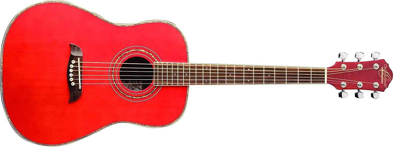 Oscar Schmidt OG1TR-A-U 3/4 Size Acoustic Guitar (High Gloss Red)