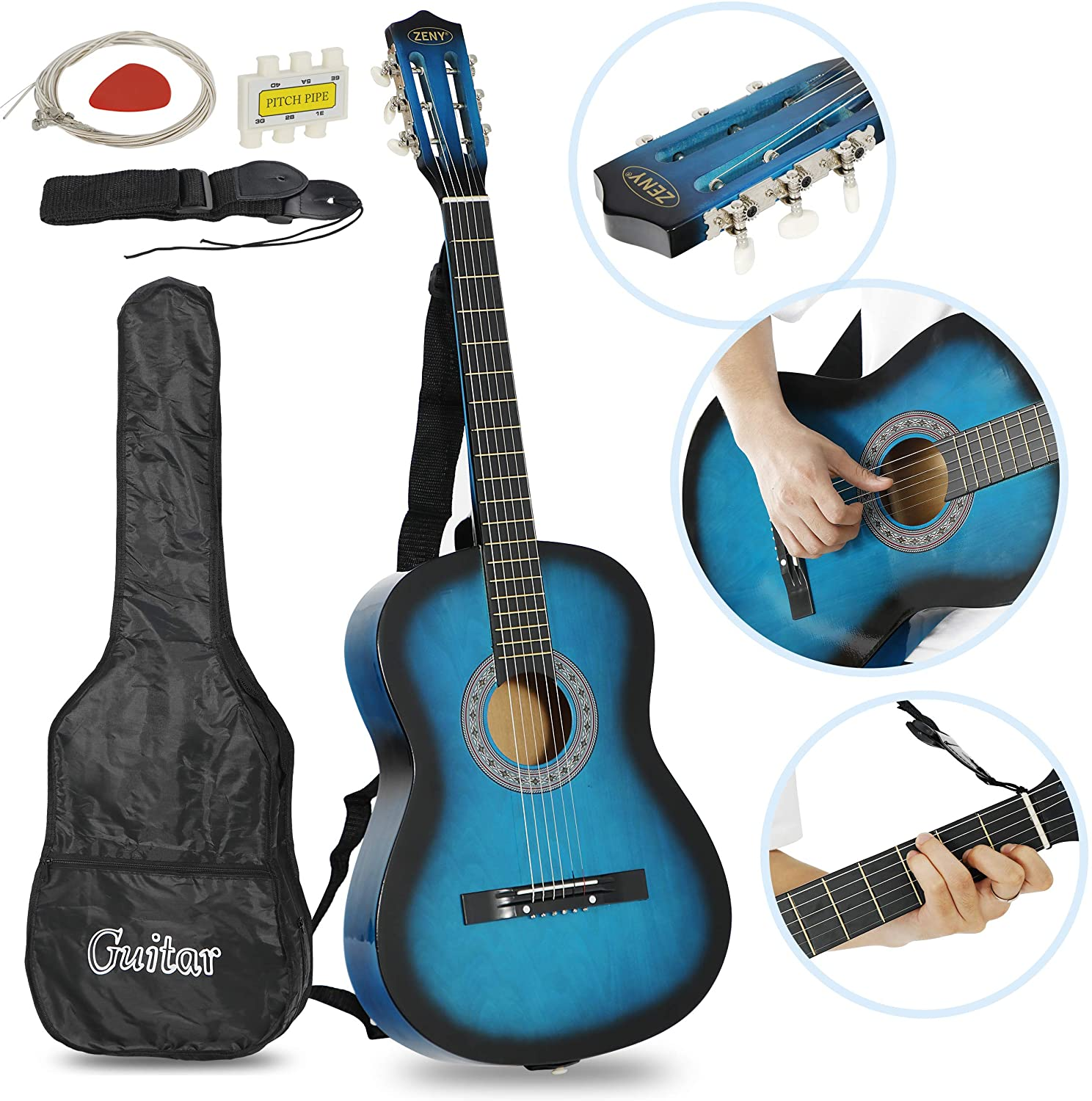 ZENY 38'' Acoustic Guitar Full Size Beginners Package Kit for Right-handed Starters Kids Music Lovers w/Case, Strap, Pitch Pipe and Pick (Blue)