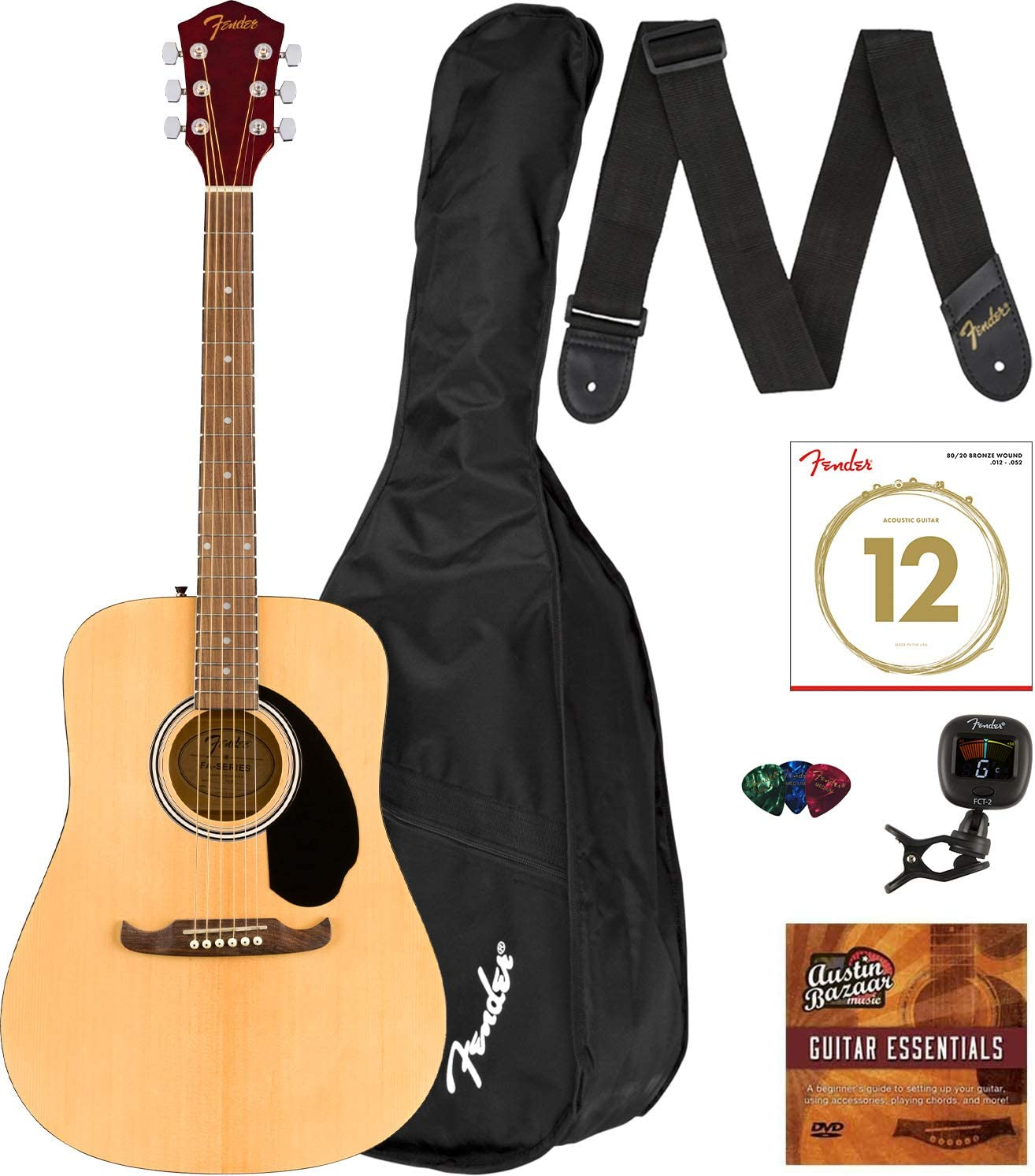 Fender FA-125 Dreadnought Acoustic Guitar Bundle with Gig Bag, Clip-on Tuner, Strap, Strings, Picks, and Austin Bazaar Instructional DVD