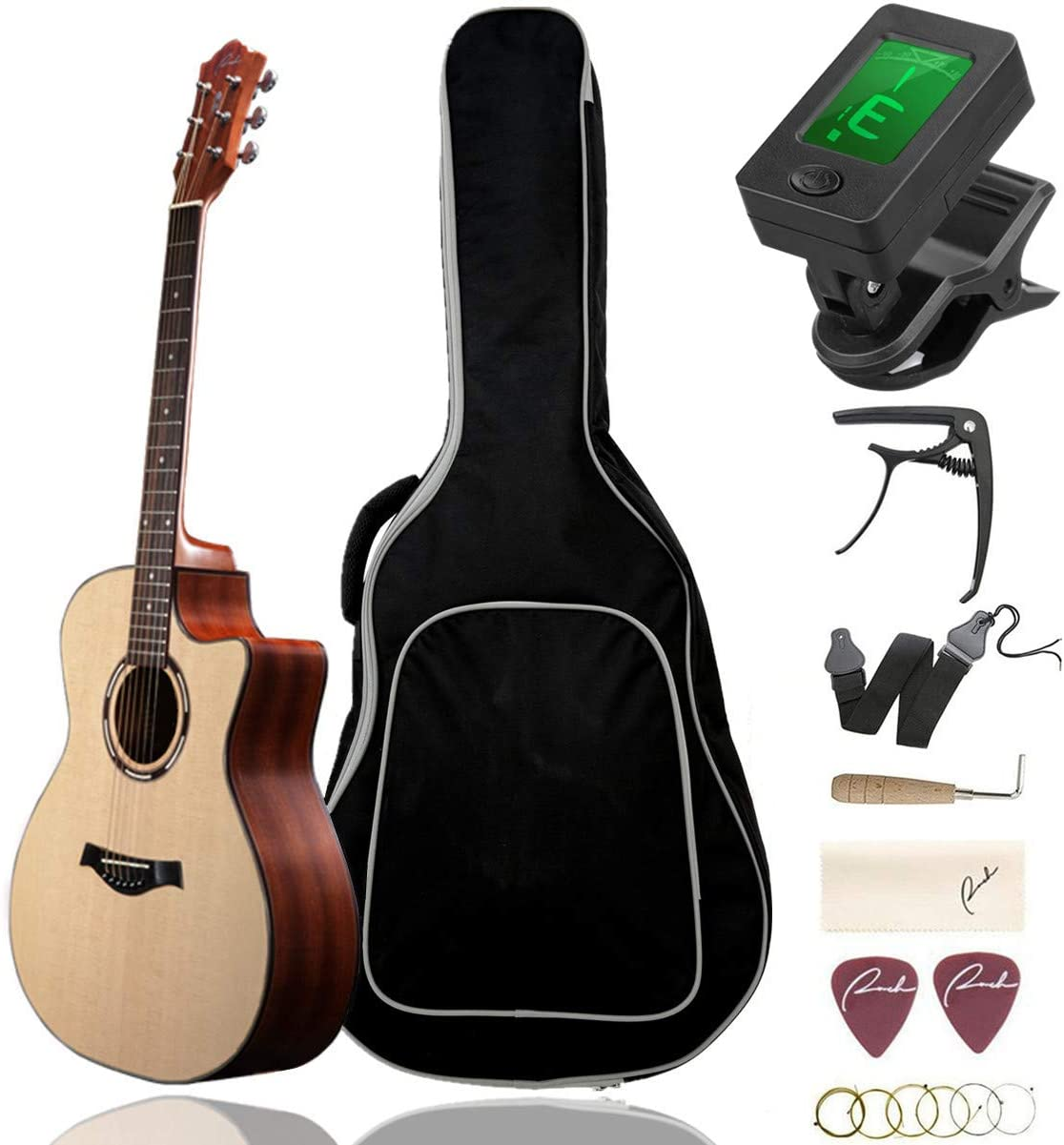 "Beginner Acoustic Guitar Ranch 41"" Full Size Solid Wood Cutaway Beginners Steel String Guitars Kit Bundle with Gig Bag/Tuner/Capo/Strings/Strap/Picks Set Starter Pack for Adults (Grand Auditorium)"