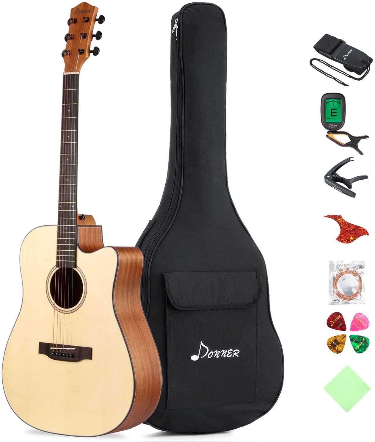 "Donner DAG-1C Beginner Acoustic Guitar Full Size, 41"" Cutaway Guitar Bundle with Gig Bag Tuner Capo Picks Strap String"