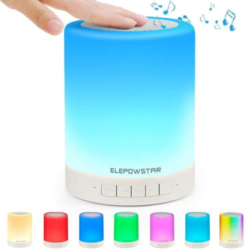 ELEPOWSTAR Smart Touch Night Light with Bluetooth Music Speaker