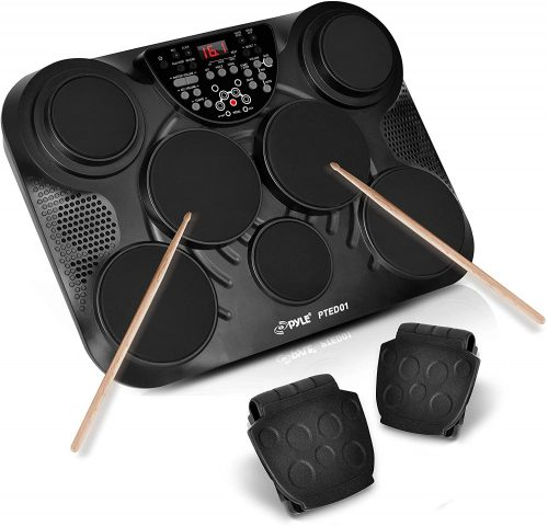 Pyle Portable Drums, Tabletop Drum Set - Electric Drum Pads